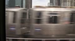 Chicago-El train-over bridge, street, pov Stock Footage