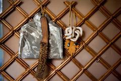 retro broom and dustpan hang - stock photo