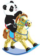 Cartoon panda riding rocking horse Stock Illustration