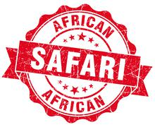 african safari red vintage isolated seal - stock illustration