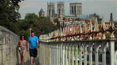VIEW OF YORK MINSTER FROM CITY WALLS, YORK, NORTH YORKSHIRE Stock Footage