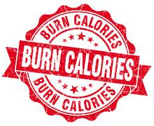 burn calories red vintage isolated seal - stock illustration