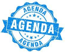 agenda blue vintage isolated seal - stock illustration