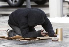 homeless begger begging - stock photo