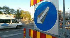 Roadworks sign - Winter street scenes Fridhemsplan,  Stockholm Stock Footage