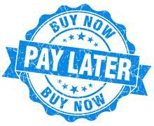 Buy now pay later blue vintage isolated seal Stock Illustration