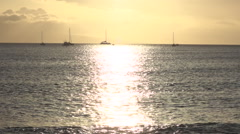 Lahaina Maui, Late Light Sunset On Ocean, With Sail Boats. Stock Footage