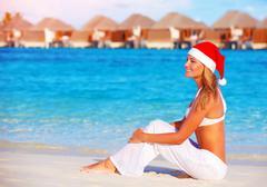 Christmas celebration on maldive island Stock Photos