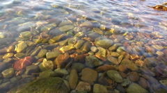 Clear Sea Rippling Over Golden Rocks Stock Footage