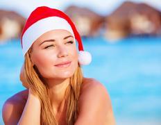 woman celebrate christmas on maldives - stock photo