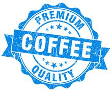 Coffee premium quality blue vintage isolated seal Stock Illustration