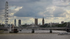 Classic London Vista from Waterloo Bridge with London Eye and Big Ben Stock Footage