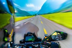 slow motion of motorbike - stock photo