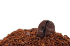 ground with a coffee bean horizontal format - stock photo