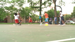 Street basketball, jumpshot swish, dolly Stock Footage