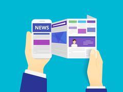 Online reading news - stock illustration
