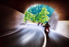 Bikers tour along europe Stock Photos