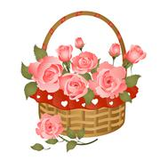 Basket with bunch of roses Stock Illustration