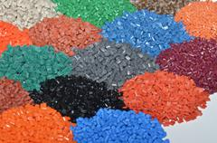 heaps of polymer resin - stock photo