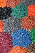Dyed plastic granulate Stock Photos