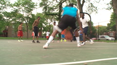 Street basketball, dribble move, dolly Stock Footage