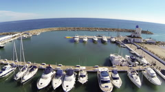 Motor cruisers in a marina Stock Footage