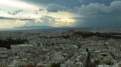 4K timelapse Athens Greece skyline establishing shot at sunset Acropolis Stock Footage