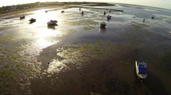 Aerial of boats at low tide - stock footage