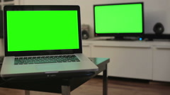 Television computer green screen - 1080p Stock Footage