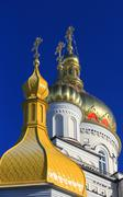 pochaev's lavra cupola at nice day - stock photo