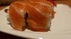 Sushi inside out roll with salmon Stock Footage