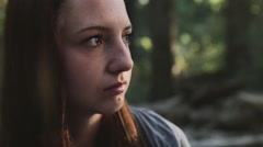 Young Woman, Contemplating, Looking Off Into The Distance (Slow Motion) Stock Footage