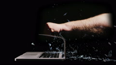Stock Video Footage of 2899 Punching a Laptop Out of Anger, 4K