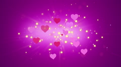 Hearts and Glowing Particles Stock Footage