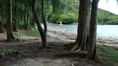 Oahu Kahana Bay view & sail boat 4k Stock Footage