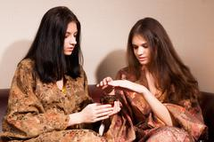 Beautiful women in japanese spa - stock photo