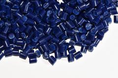 Blue polymer resin Stock Photos