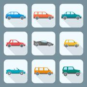 colored flat style various body types of cars icons collection. - stock illustration