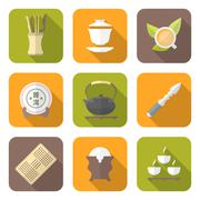 color flat style chinese tea ceremony equipment icons set. - stock illustration