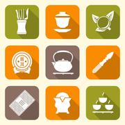 white color flat style chinese tea ceremony equipment icons set. - stock illustration