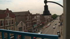 Chicago-El train-view of street from elevated platform Stock Footage
