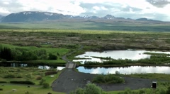 Iceland island tour 006 Icelandic lake and mountain landscape Stock Footage