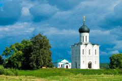 Church on River Nerl Stock Photos