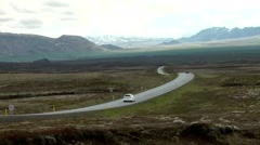 Iceland island tour 001 winding street through endless Icelandic landscape Stock Footage