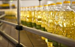 Factory for the production of edible oils. Shallow DOFF Stock Photos