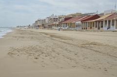 Empty Beach in season Stock Photos