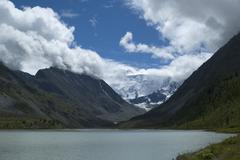 belukha  the highest peak of Altai - stock photo