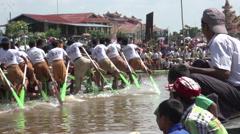 Phaung Daw Oo Pagoda Festival, longboat races in slow motion Stock Footage