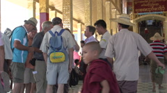 Inle lake, group of tourists at entrance temple Stock Footage