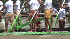 Phaung Daw Oo Pagoda Festival, longboat races Stock Footage